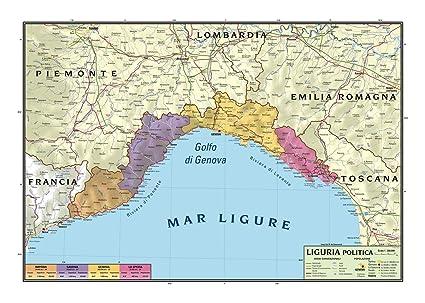 Cartina Geografica Politica Della Lombardia.Carta Geografica Murale Regionale Liguria 100x140 Bifacciale