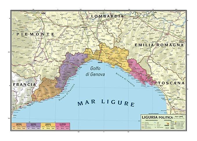 Cartina Politica Emilia Romagna Dettagliata.Carta Geografica Murale Regionale Liguria 100x140 Bifacciale