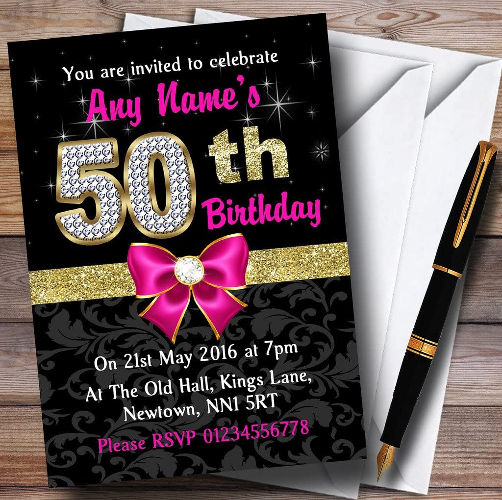 Amazon.com : Pink Black Gold Diamond 50Th Birthday Party Personalized  Invitations : Office Products