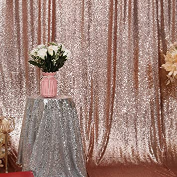 Birthday Baby Bridal Shower. 4Ft x 6Ft, Rose Gold Party Delight 4Ft X 6Ft Rose Gold Non-Transparent Sparkling Satin Sequin Backdrop Curtain for Photography and Photo Booth