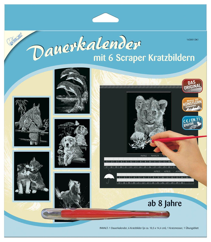 Mammut 143001 - Kratzbilder-Dauerkalender Tiere, 6 Bilder je ca. 10,5 x 14,4 cm, silber