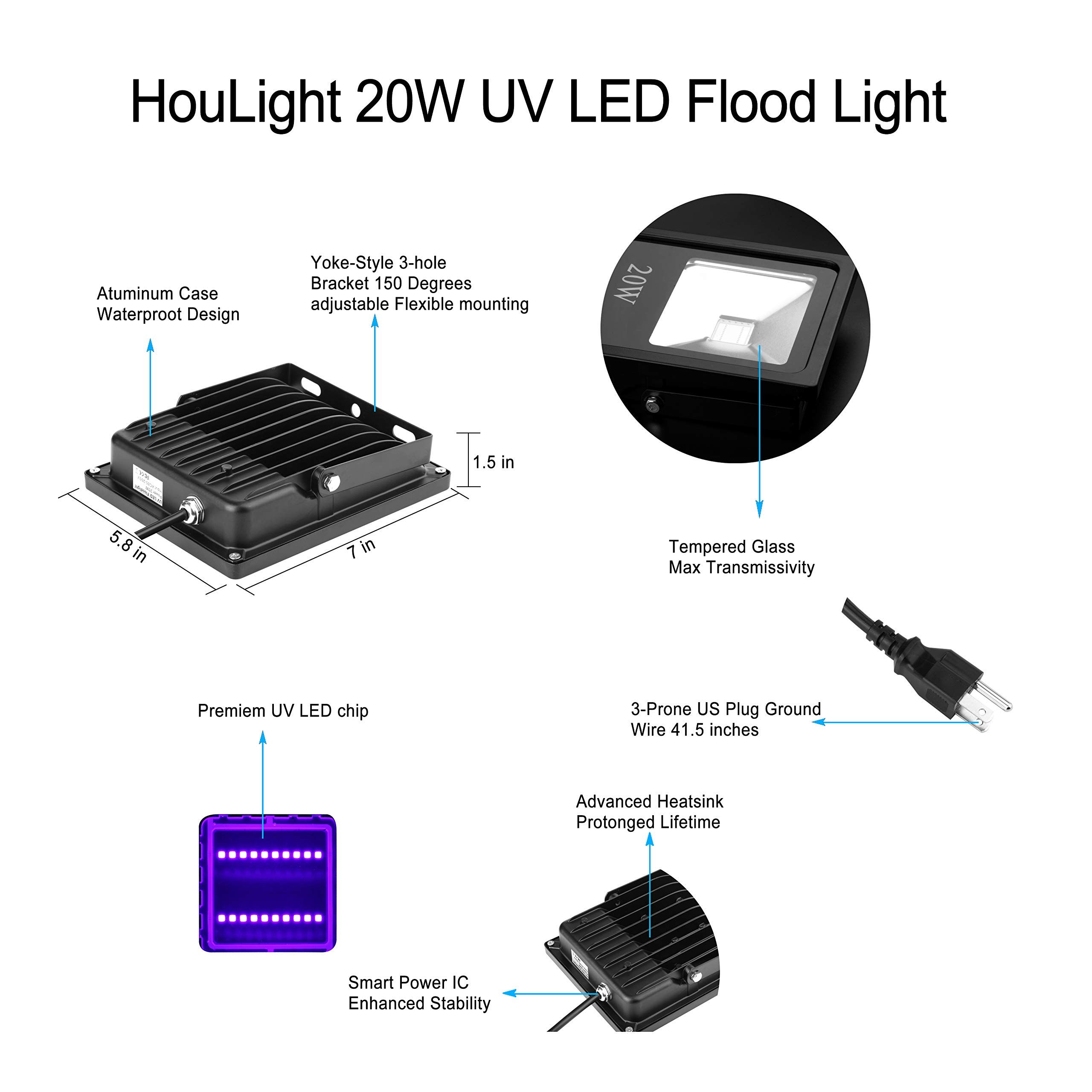 UV LED Black Light, HouLight High Power 10W Ultra Violet UV LED Flood Light IP65-Waterproof (85V-265V AC) for Blacklight Party Supplies, Neon Glow, Glow in The Dark, Fishing, Aquarium, Curing (20) by stalet (Image #5)