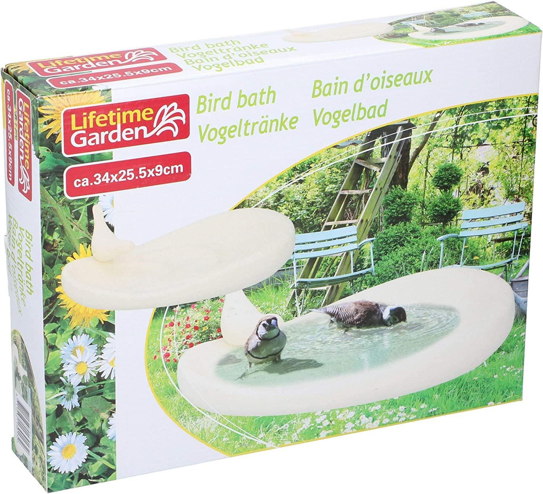 1 Bird Black Ornamental Polystone Wild Bird Bath Garden Ornament