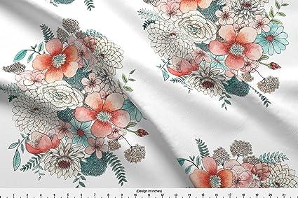 Amazoncom Watercolor Fabric Watercolor Flowers Flower Peony