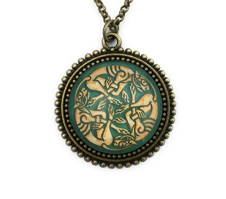 Bronze Pendant Celtic Necklace Green Celtic Knot