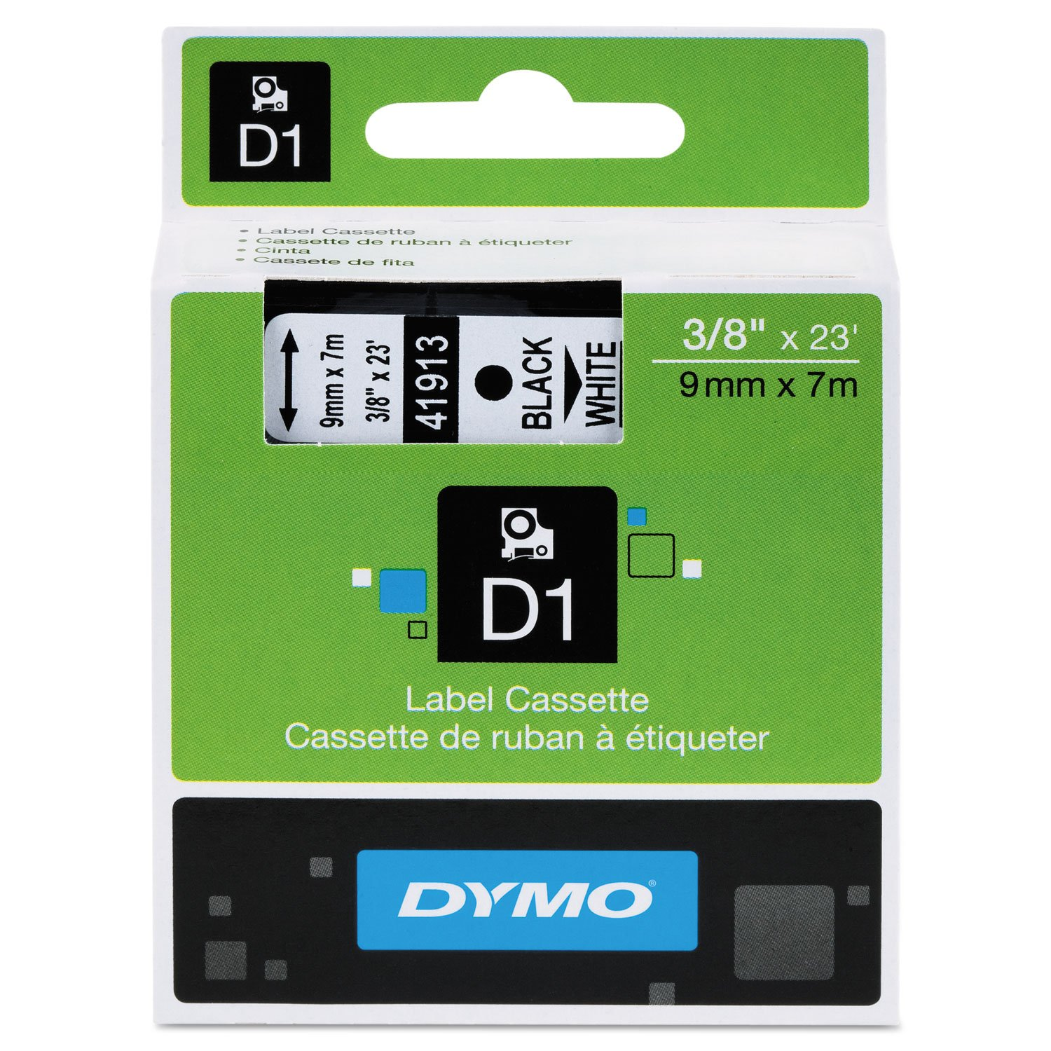 DYMO 41913 D1 High-Performance Polyester Removable Label Tape, 3/8'' x 23 ft, Black on White
