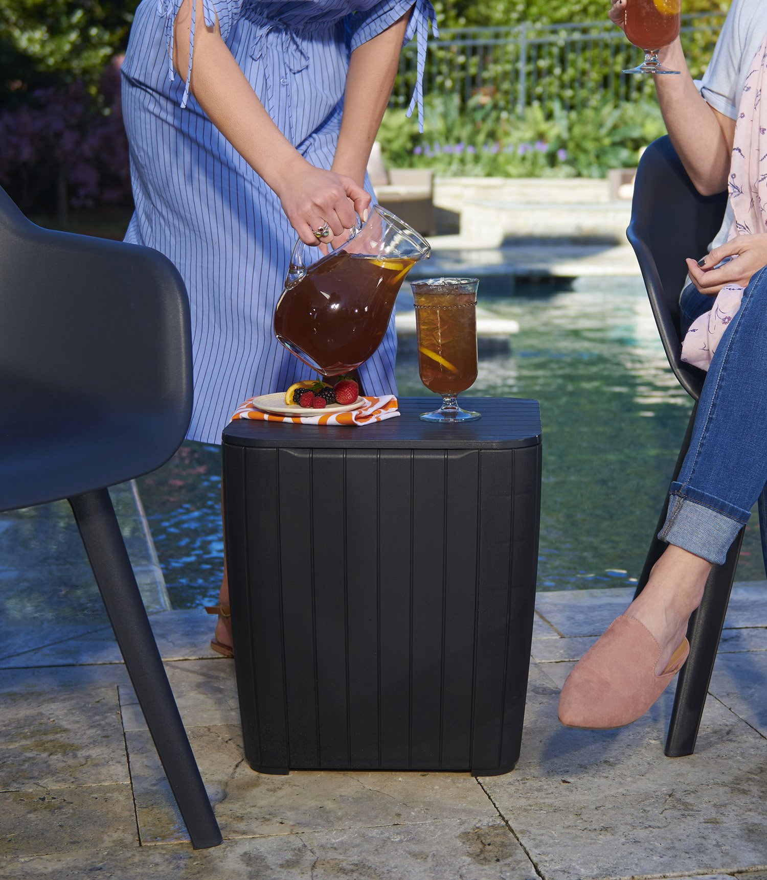 Keter Luzon Patio Side Coffee Table Outdoor Furniture Durable Resin Plastic Matte Wood Look, Graphite by Keter