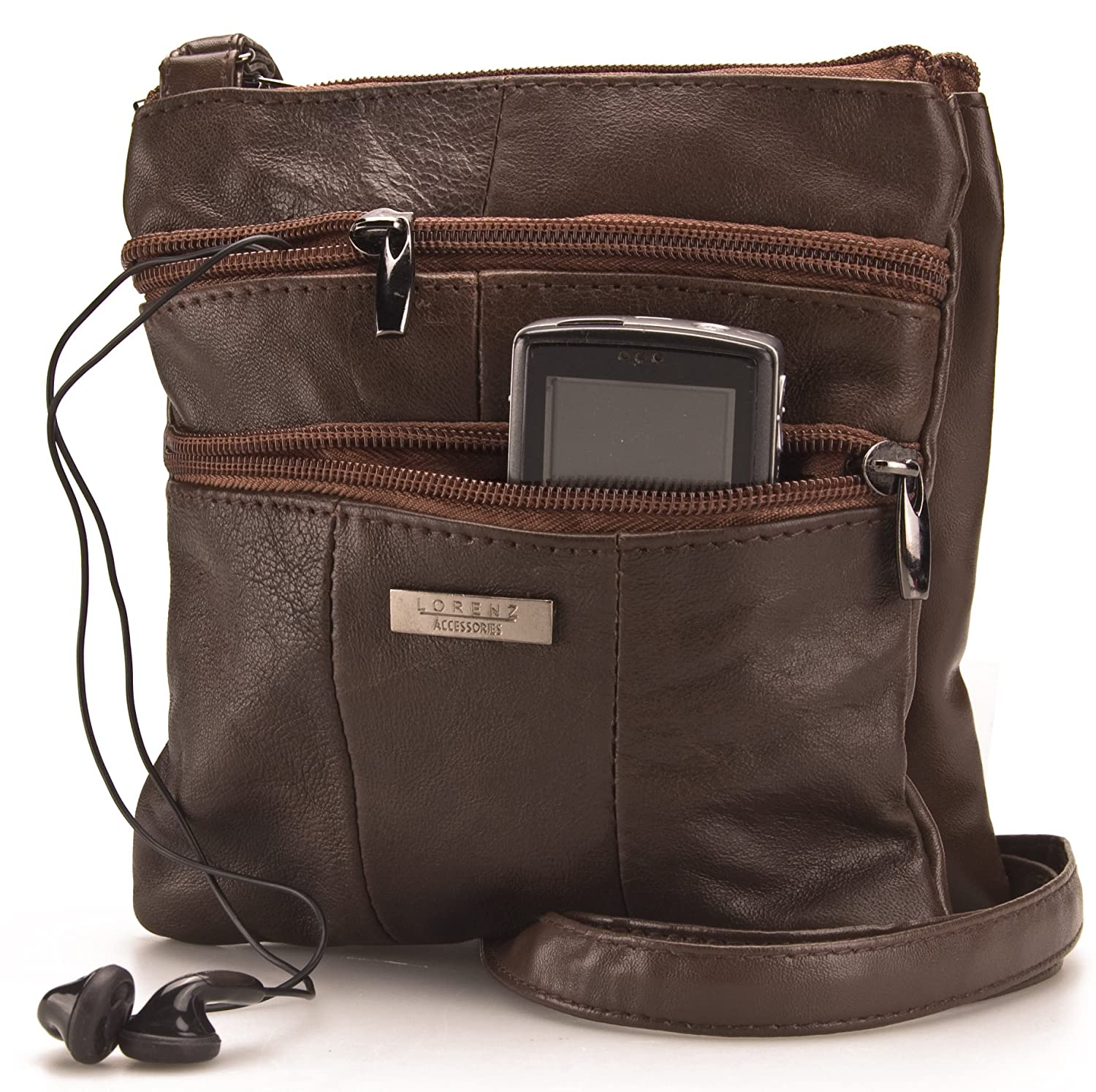 6c9047a219 Lorenz Ladies Small Genuine Soft Leather Cross Body   Shoulder Bag (1)    1941 - Chocolate  Amazon.co.uk  Luggage