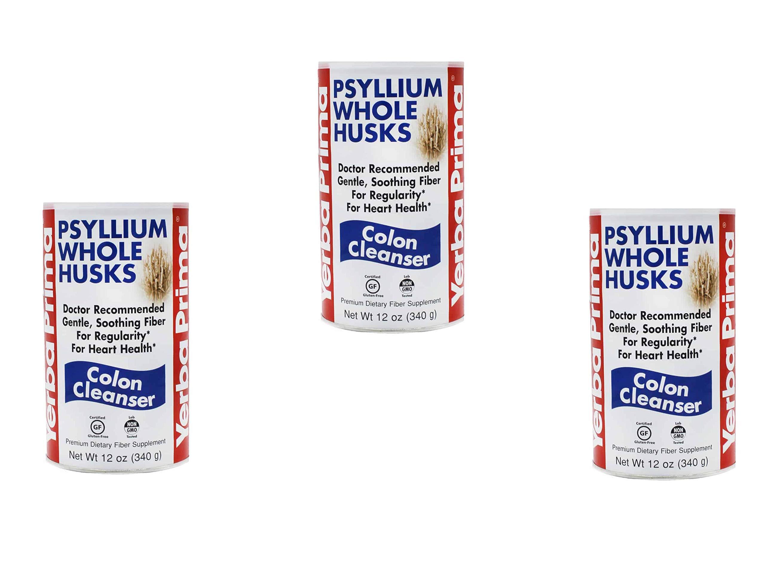 Yerba Prima Psyllium Whole Husks Colon Cleanser, 12 Ounce (Pack of 3) by Yerba Prima