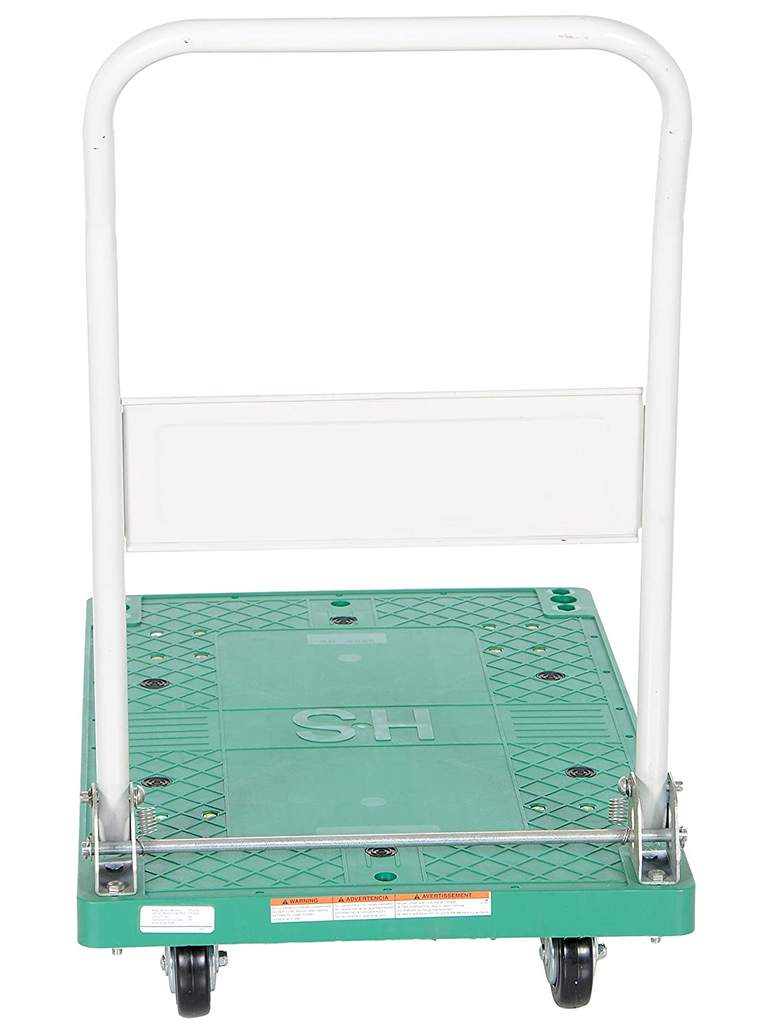 500 lbs Capacity 33 Length x 21 Width x 6-1//2 Height Deck 33 Length x 21 Width x 6-1//2 Height Deck Vestil Manufacturing Corp Vestil FPT-2133 Plastic Platform Truck with Fold Down Handle