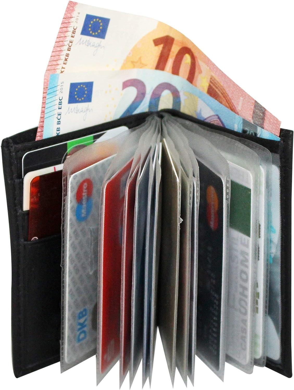 Cartera Tarjetero Hombre Pequeñade de Piel Paris BelliBiz, RFID Tarjeteros para Tarjetas de Crédito, Cartera de Piel Minimalista para 16 Tarjetas, Billetes y Monedas, Bloqueo RFID,Cuero Napa (Negro)
