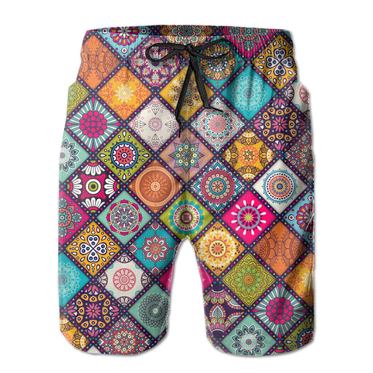 FASUWAVE Mens Swim Trunks Mandala Quick Dry Beach Board Shorts with Mesh Lining