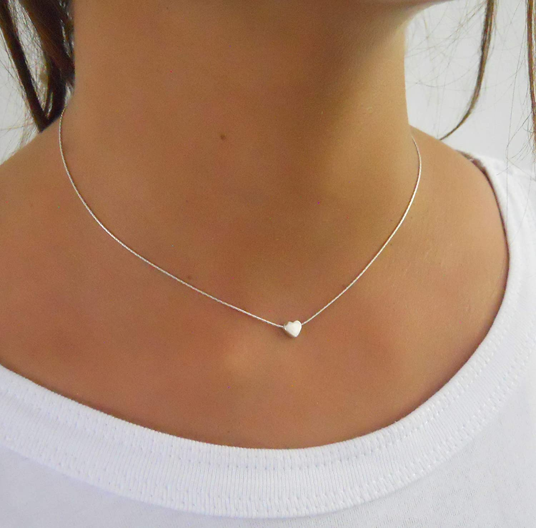 B078ZV1W5G Handmade Dainty Sterling Silver Heart Necklace 81LBpX0hVEL