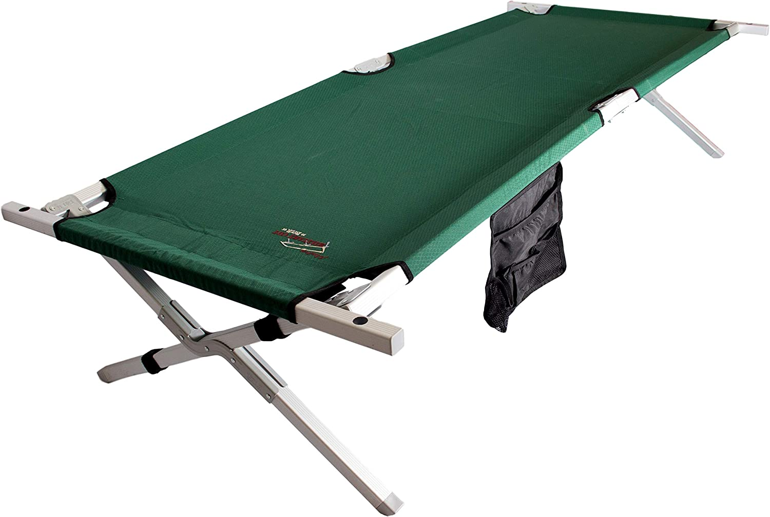 BYER OF MAINE Military Cot, Folding cot, Reinforced Aluminum Steel Frame, Extra Large Size, Holds 375lbs