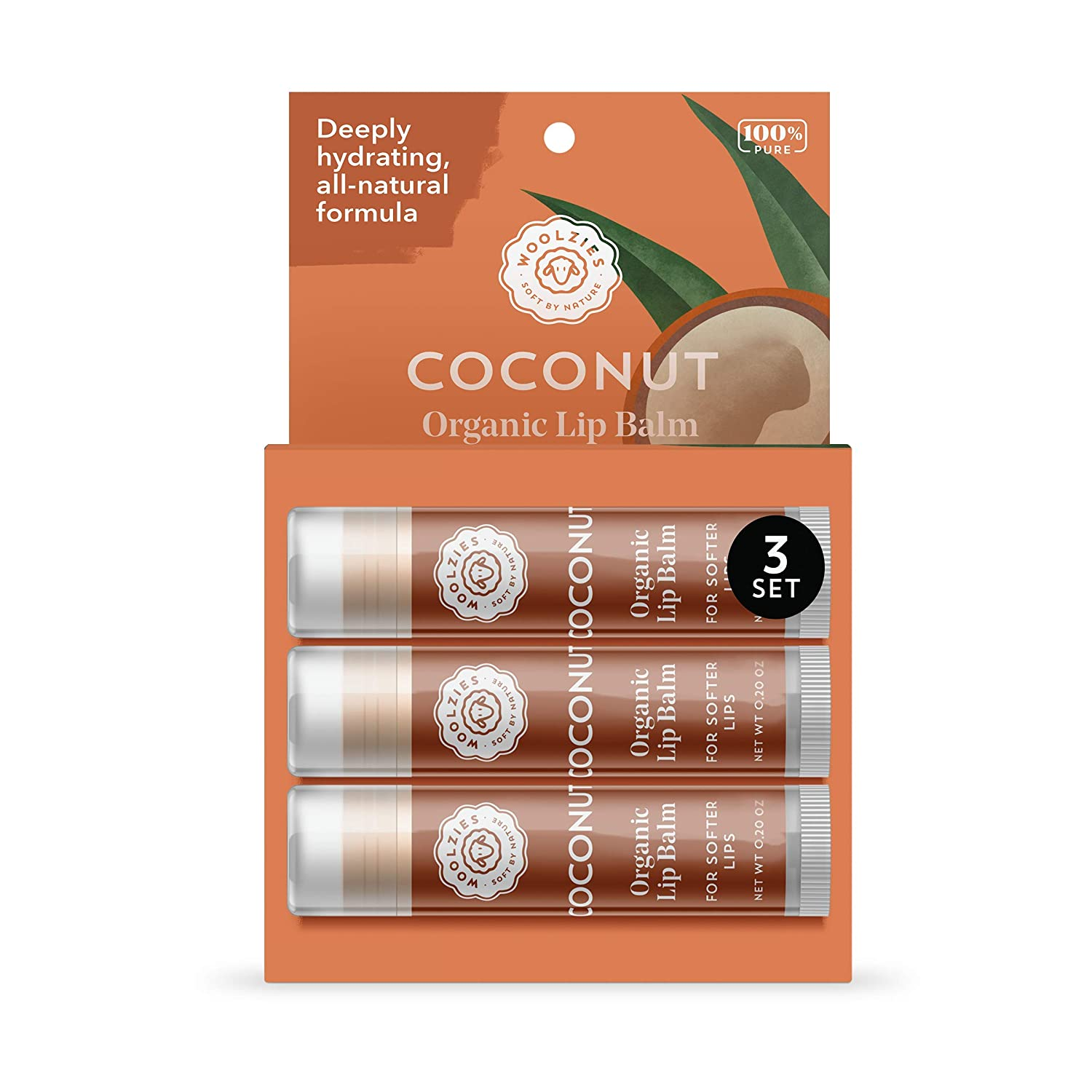 Woolzies 100% Natural Coconut Lip Balm Chap Stick Set of 3 | Made with Bees Wax and Shea Butter