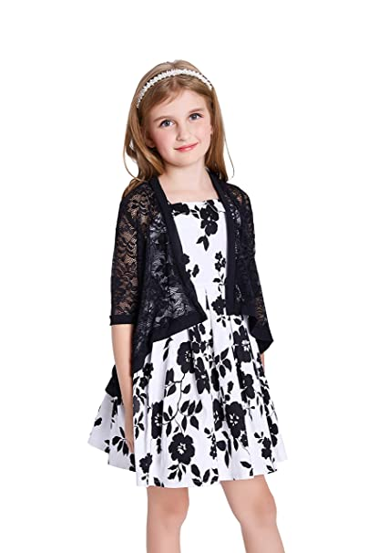 Danna Belle Girls 3//4 Sleeve Open Front Lace Irregular Hem Cardigan Shrug