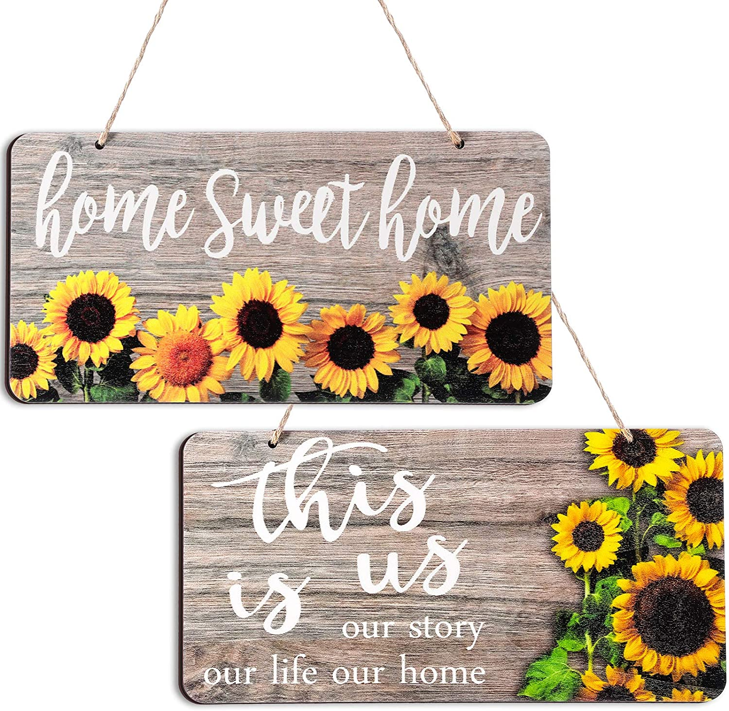 2 Pieces Sunflower Wood Front Porch Door Decor Wall Plaque Sunflower This is us Sign Home Sweet Home Sign Sunflower Rustic Farmhouse Porch Decorations for Home Wall Door Hanging Decor, 12 x 6 Inch