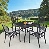 """AECOJOY 5 Pieces Outdoor Patio Dining Set, 37"""" Square Metal Table with Umbrella Hole and 4 Metal Chairs for Poolside, Backyar"""