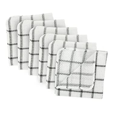 DII Microfiber Scratch Free Scrubber Cleaning Dishcloth with Poly Mesh Scour Side, Wash Cloth Perfect for Kitchens, Dishes, Car, Dusting, Drying Rags, 12x12, Set of 6 - Gray Windowpane