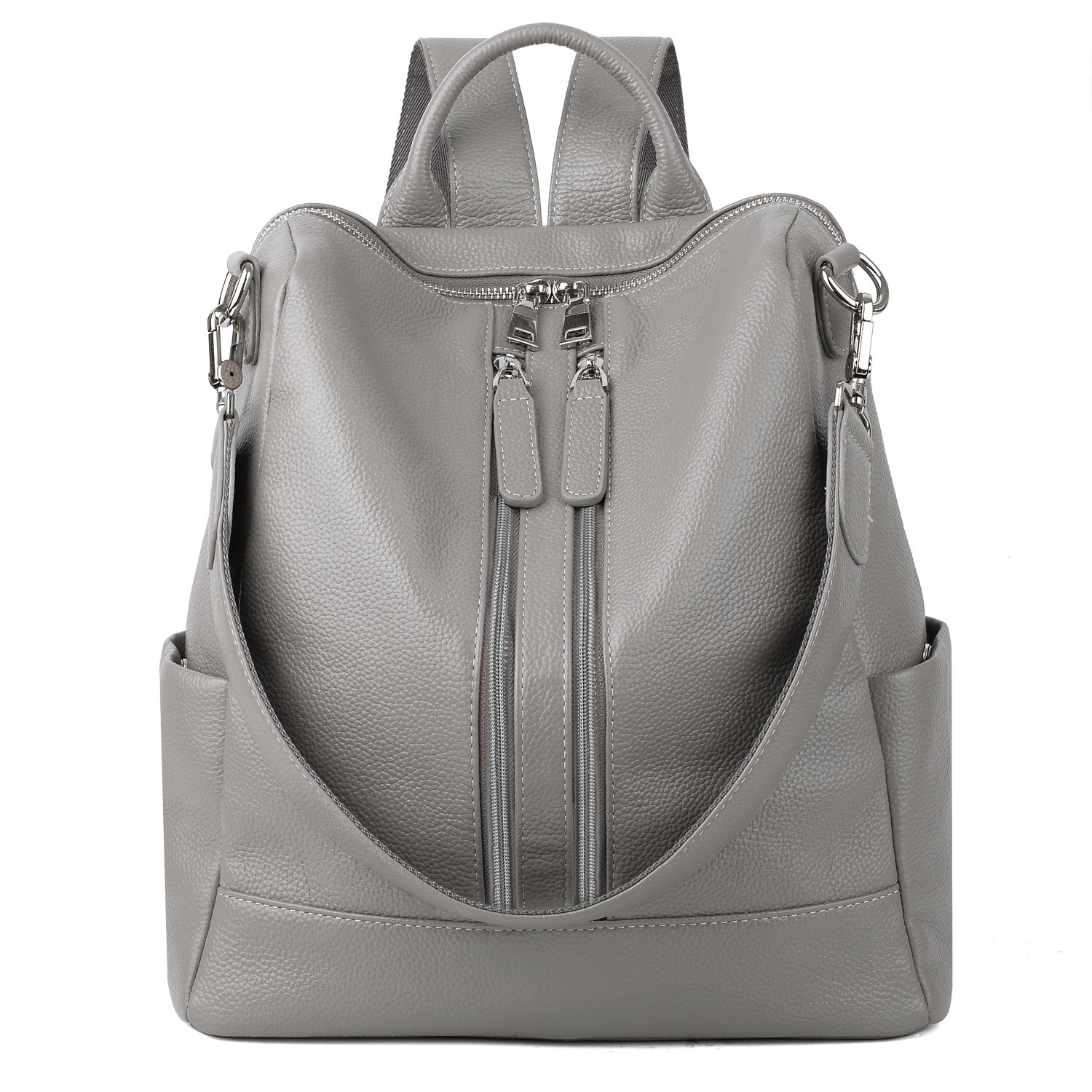 YALUXE Women's Convertible Real Leather Backpack Versatile Shoulder Bag (Upgraded 3.0) Grey