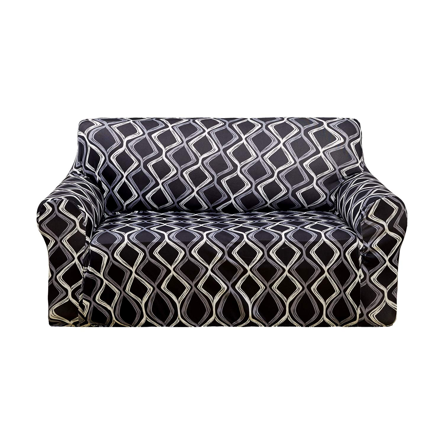 Deconovo Trellis Print Sofa Slipcover Spandex Stretch Strapless Black Sofa Cover for 1 Cushion Sofa