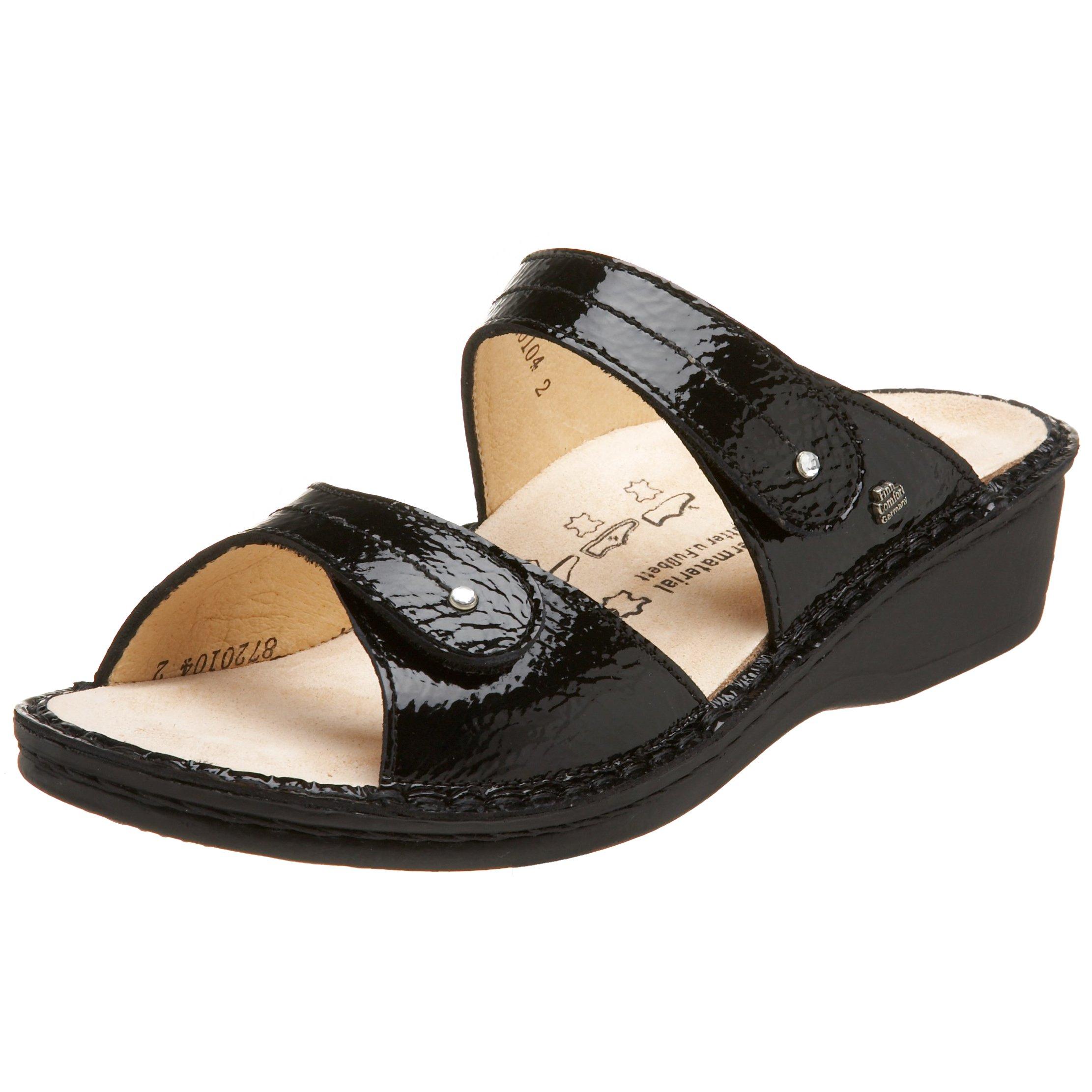 Finn Comfort Women's Catalina Soft Sandal,Black Patent,39 EU (US Women's 8 M)