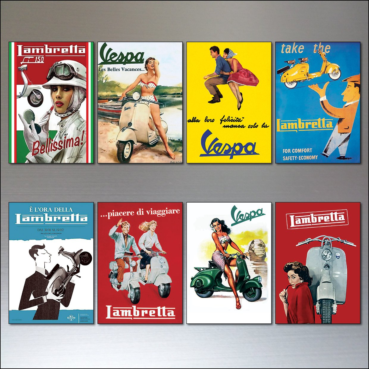 8 flexible fridge magnets Vintage Italian scooter Vespa Lambretta motorbike adverts