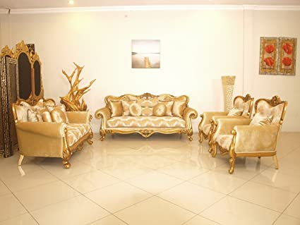 European Furniture 3 Pieces Cleopatra Luxury Sofa Set