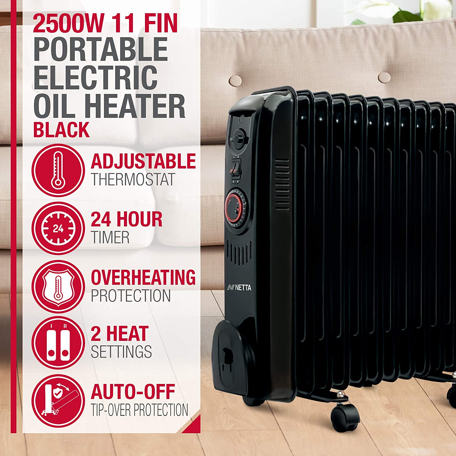 NETTA Oil Filled Radiator 2500W Portable Electric Heater with Thermostat & 24 Hour Timer 2 Power Settings Home Office Energy Efficiency – 11 Fin, Grey Black