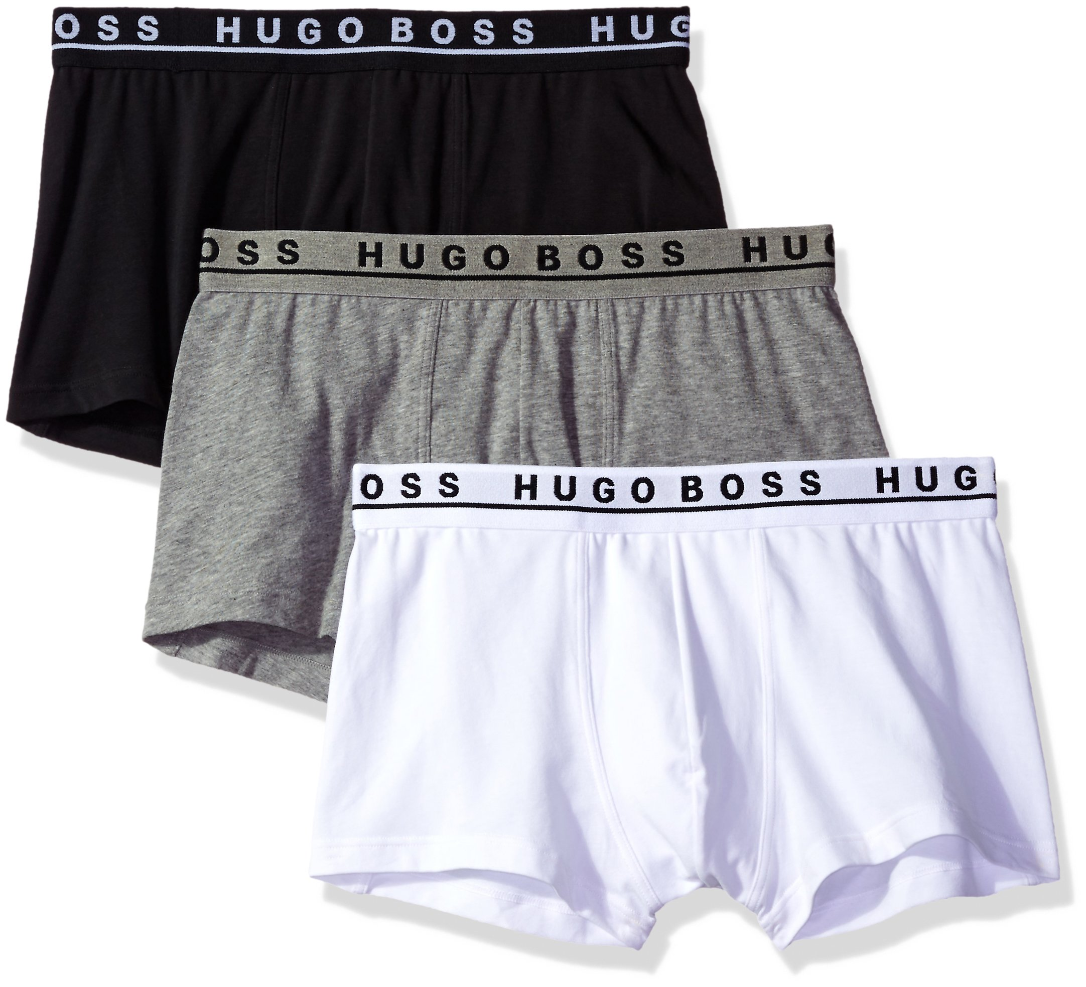 Hugo Boss BOSS Men's Trunk 3p Co/El 10146061 01, Black/Grey/White, Large