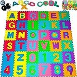 Bakaji Tappeto Puzzle 86 pezzi con numeri e lettere colorati in morbida gomma EVA resistente, isolante, lavabile, Tappetino da gioco per bambini Superficie Colorata per giocare Alfabeto Numeri