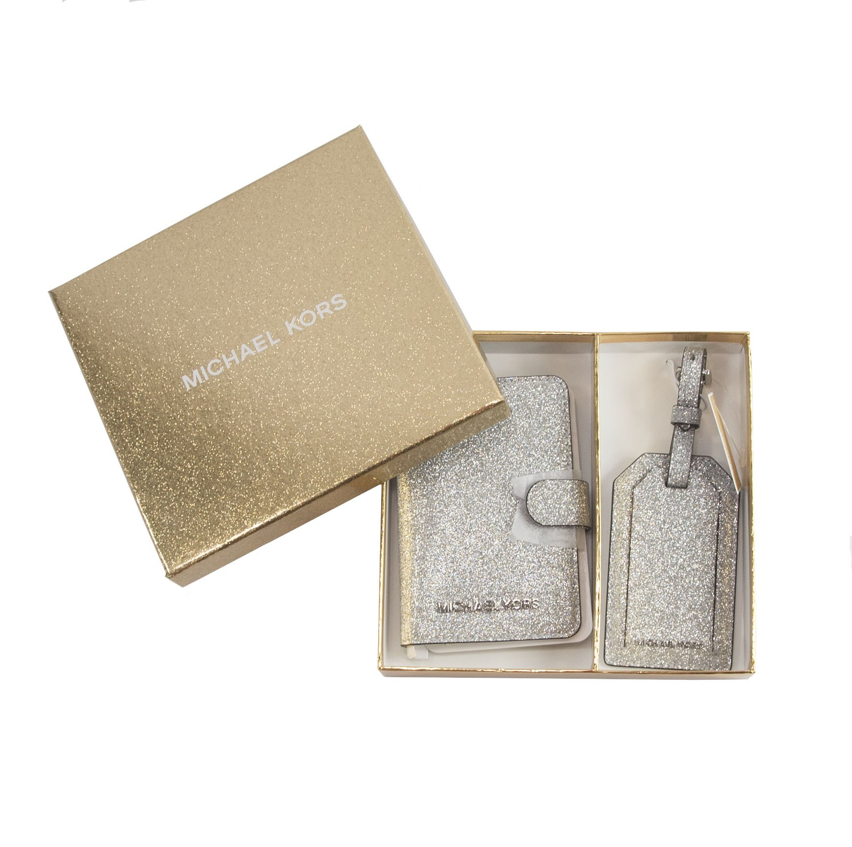 Michael Kors Silver Glittered Leather Bifold Wallet and Luggage Tag Set
