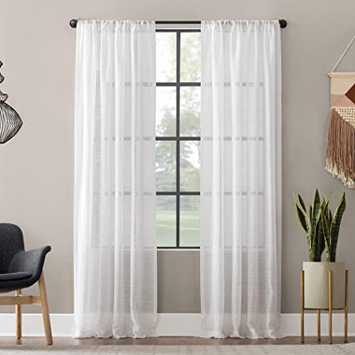 Best window curtain panel: Clean Window Textured Slub Stripe Anti-Dust Allergy/Pet Friendly Sheer Curtain Panel