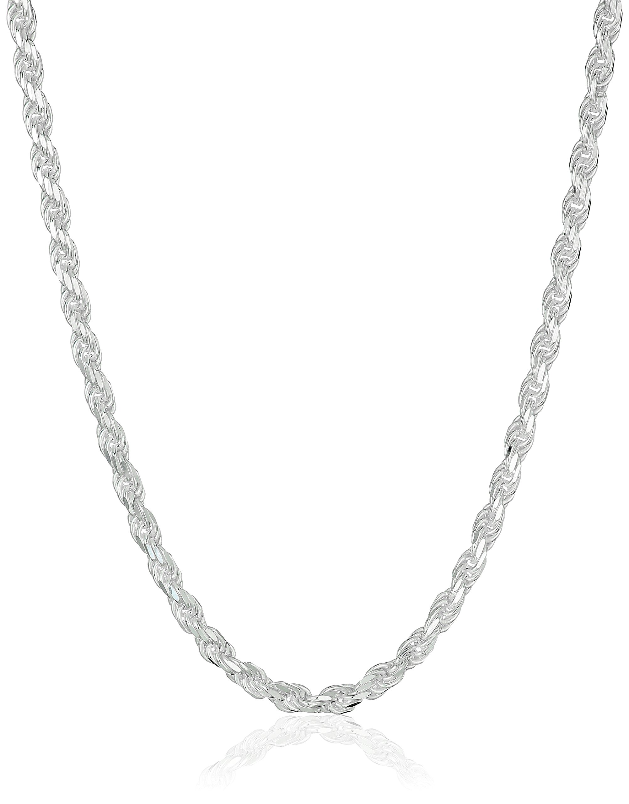 Sterling Silver 040-Gauge Diamond-Cut Rope Chain Necklace, 20''