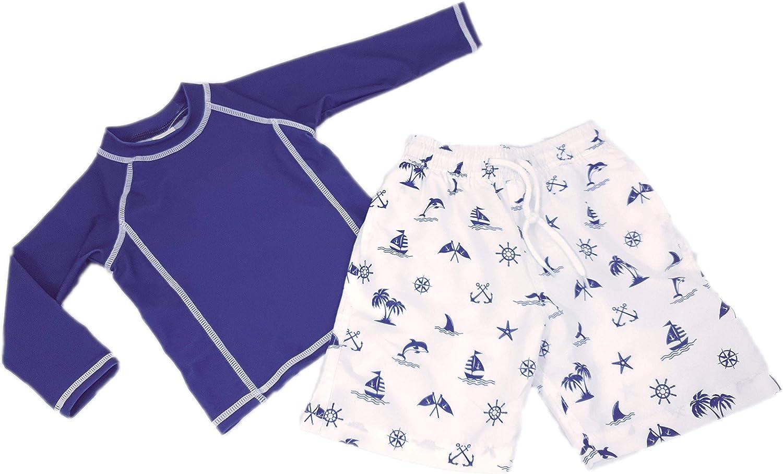 Gar/çon bleu marine Bretagne Doux Soleil Ensemble maillot de bain anti-UV UPF50