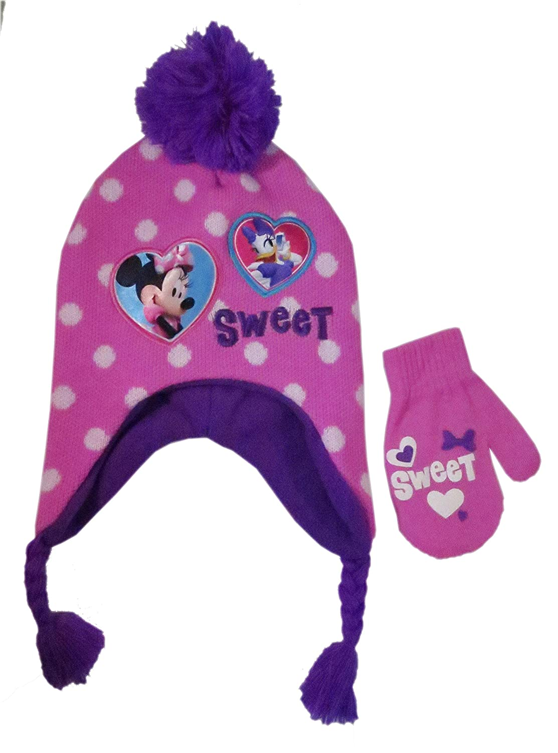 Disney Minnie Mouse Girls' Beanie & Mittens Set - pink, one size 00-VHC46Z-2R