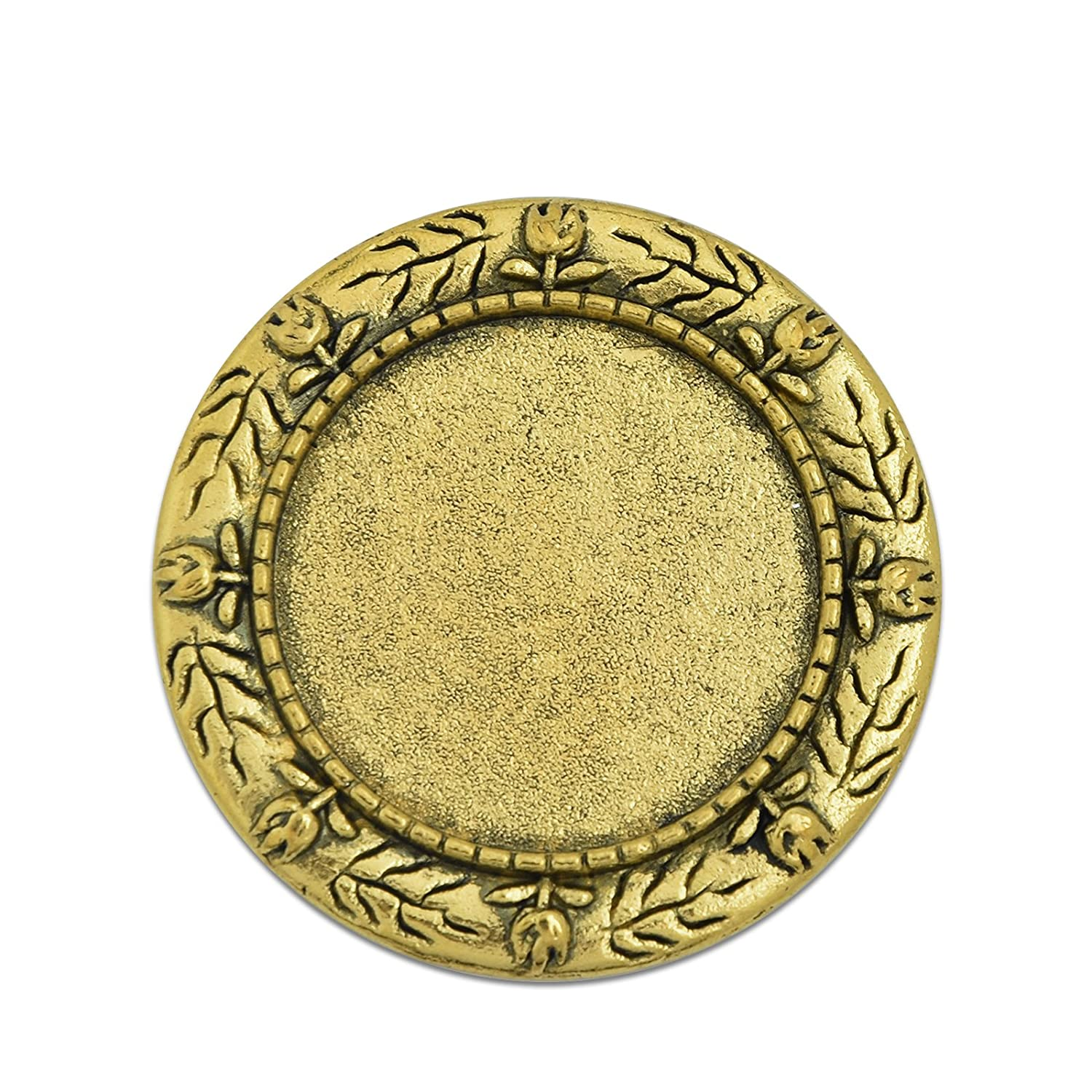 1″ 25mm Round Brooch Blank Base with Safety Pin Back fit 25mm Round Cabochon Pack of 10 (Antique Gold) MAXENVISION