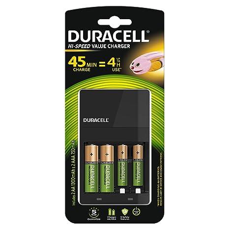 Duracell CEF14+2xAA 1300mAh - Cargador (100-240V, 50/60 Hz, Níquel-Hidruro metálico (NiMH), AA, 1300 mAh, 12,3 cm) Negro