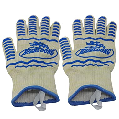 932°F Extreme Heat Resistant BBQ Oven Safety Gloves - EN407 Certified, Thick but Light Weight for Kitchen Potholder and Outdoors-1 Pair (2 Pieces Set) (White)