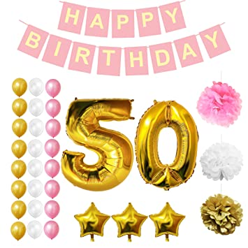 BELLE VOUS 50th Happy Birthday Party Balloons Supplies Decorations 32 Pc Set
