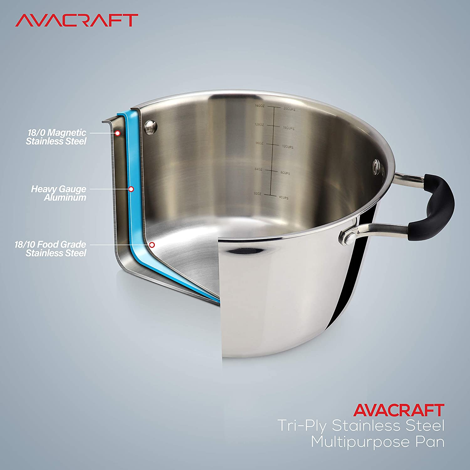 AVACRAFT 18//10 Tri-ply Stainless Steel Multipurpose Pot 5 Quart Ergonomic Heat Proof Handles Dutch Oven Casserole Stock pot with Lid Best Chef/'s Pan with Glass Lid in Pots and Pans