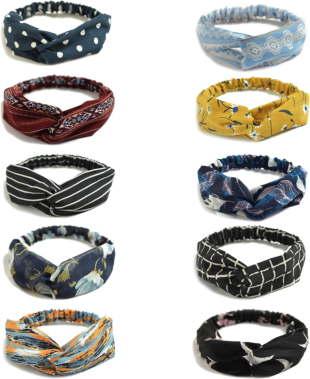 10 Pack Women's Headbands Boho Flower Printing Twisted Criss Cross Elastic Hair Band Accessories B at  Women's Clothing store