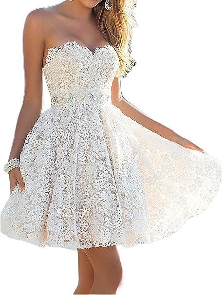 Aoturui A Linie Kurz Spitze Perlen Herzfrom Brautkleid Hochzeitskleid Standesamt Kleid Strandmode Amazon De Bekleidung