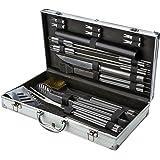 18 piezas utensilios de barbacoa de acero inoxidable herramientas de barbacoa BBQ accesorios de cuchillería profesional Con espátula de aluminio, Tenazas, Tenedor, Tenedor de cepillo