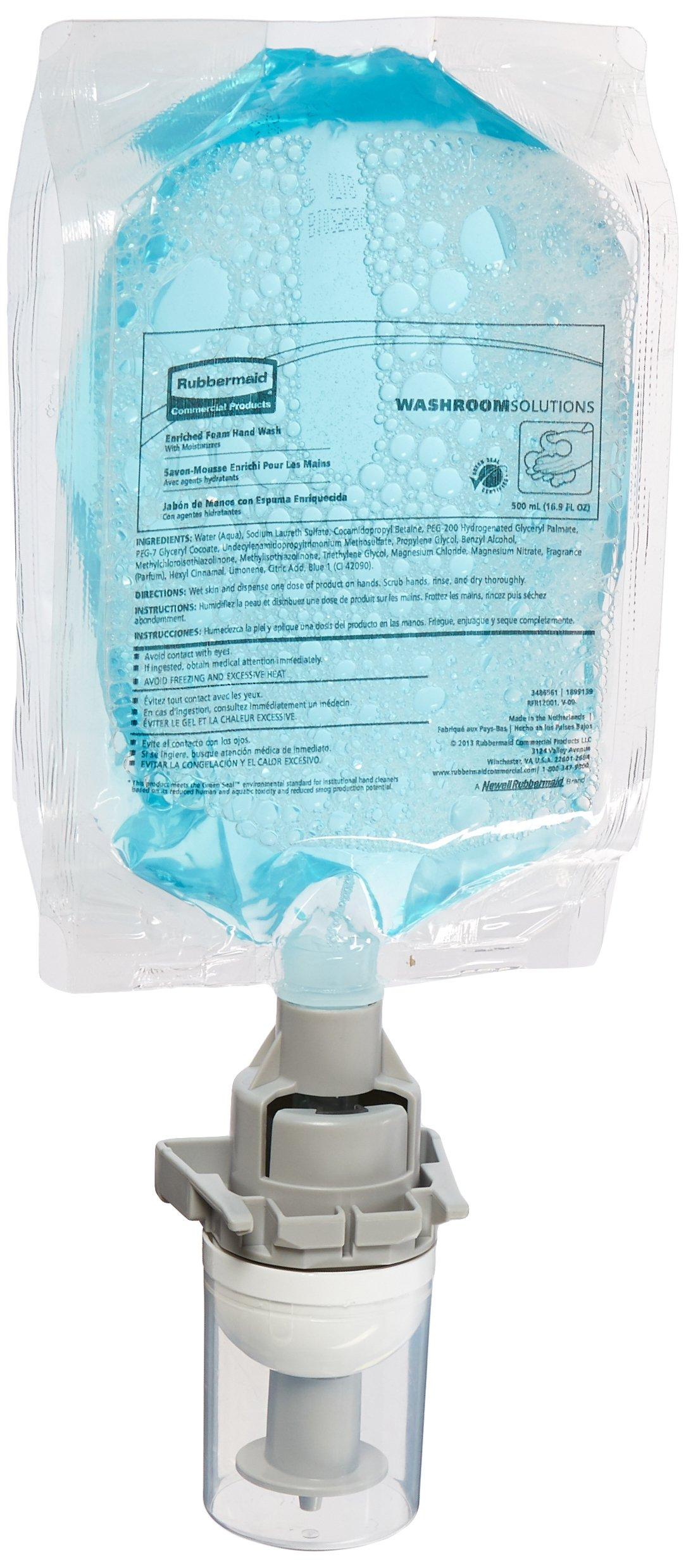 Rubbermaid Commercial Enriched Hand Soap Refill for Flex Skin Care Soap Dispenser, Rich Aqua Foam, 500-mL
