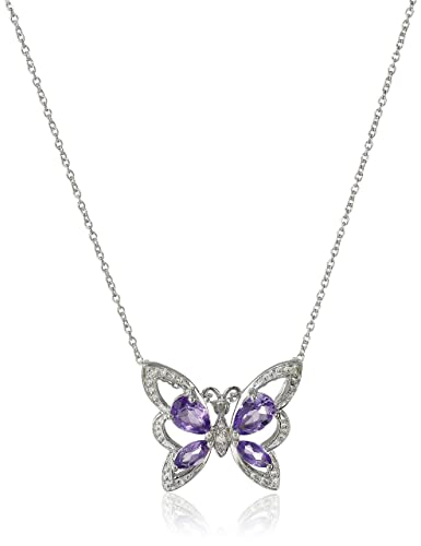 Amazon sterling silver amethyst and diamond butterfly sterling silver amethyst and diamond butterfly pendant necklace aloadofball Image collections