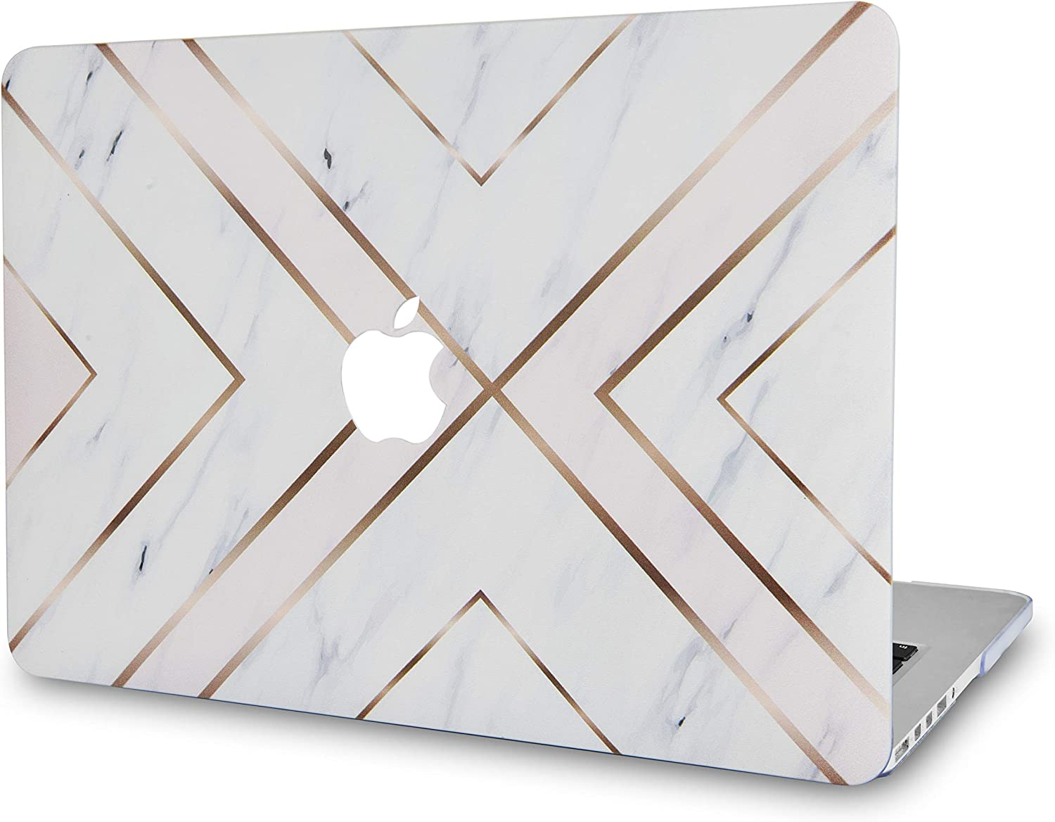 "LuvCase Laptop Case for Old MacBook Pro 13"" Retina Display (2015/2014/2013/2012 Release) A1502/A1425 Rubberized Plastic Hard Shell Cover (White Marble Gold Stripes)"