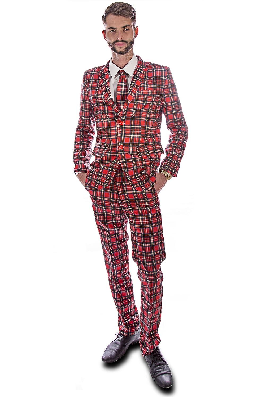 Tartan escocés traje rojo ciervo (hombres: grande): Amazon ...