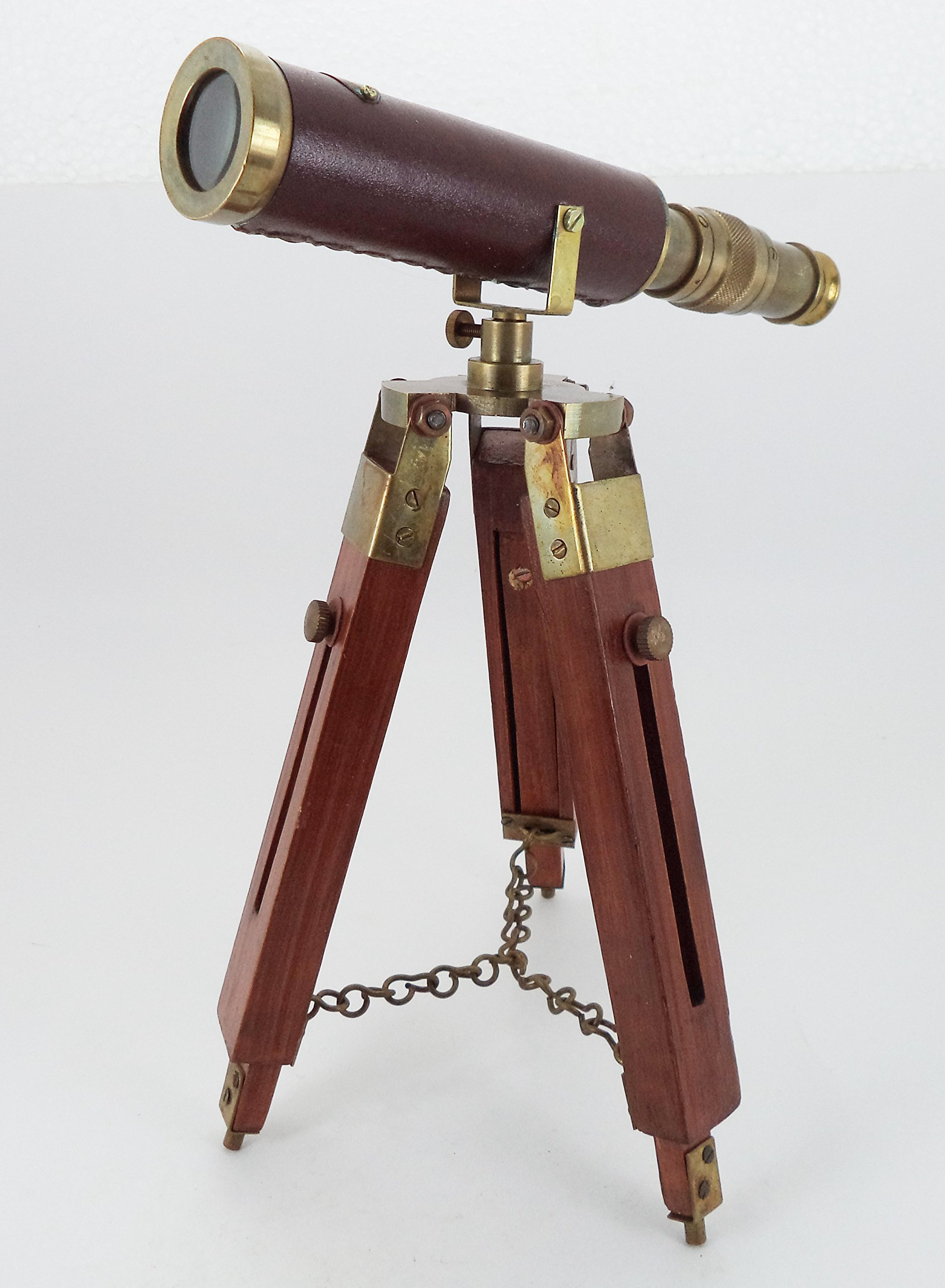 Dorpmarket Brass Desk Telescope with Adjustable Wooden Tripod Spyglass Handmade