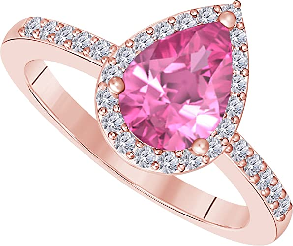 14k Yellow Gold Plated 0.75 Ct Pink Sapphire and Cubic Zirconia Halo Engagement Ring Women Jewelry